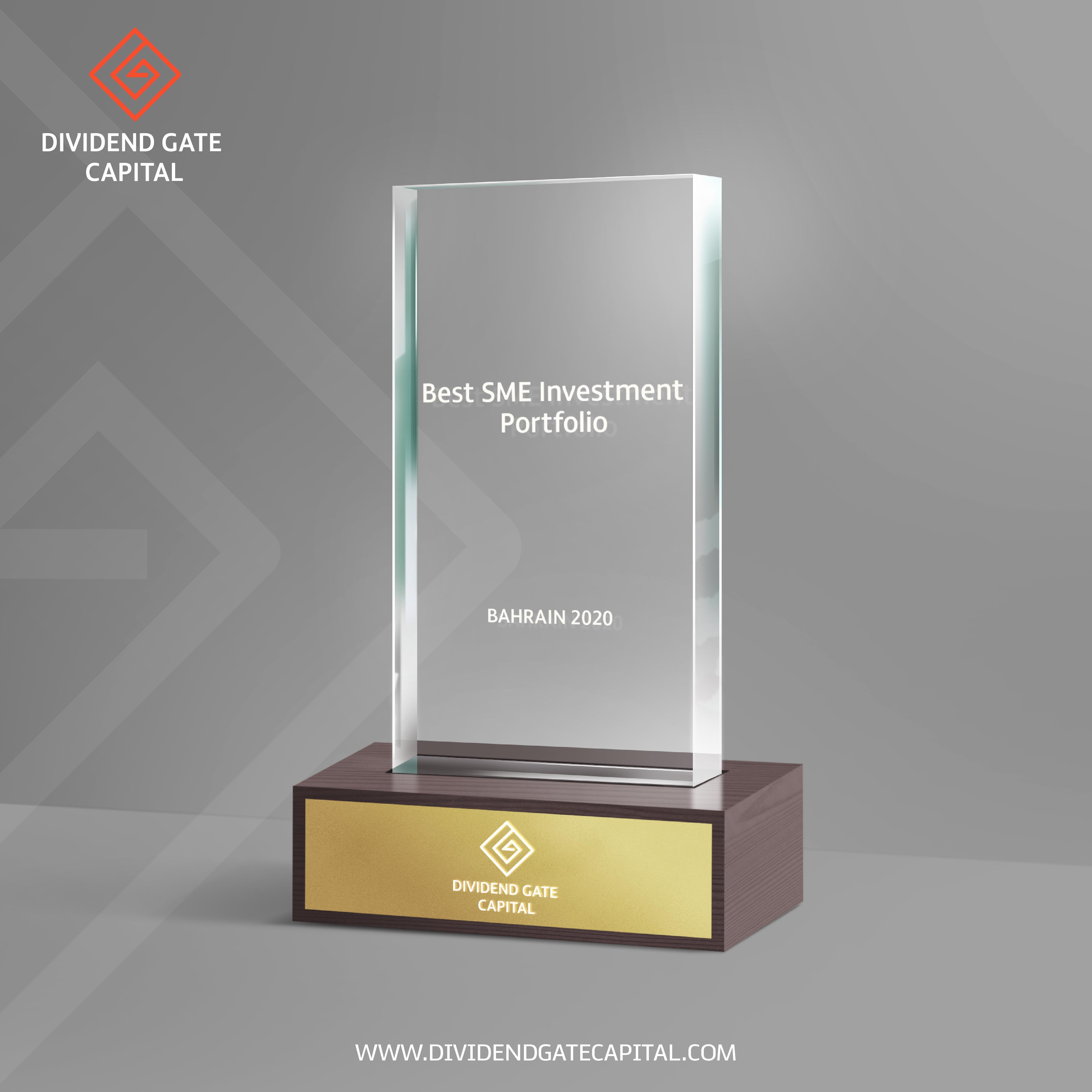 """ديفيدند جيت كابيتال تحصد لقب أفضل محفظة استثمارية للشركات الصغيرة والمتوسطة    – البحرين 2020  Dividend Gate Capital awarded """"Best SME Investment Portfolio – Bahrain 2020"""""""